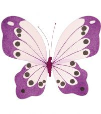 Bright Glittered Net Butterflies Medium